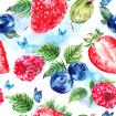 Natural summer watercolor eco food pattern