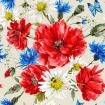 Vintage watercolor bouquet of wildflowers with poppies daisies cornflowers, ladybird bee and blue butterflies
