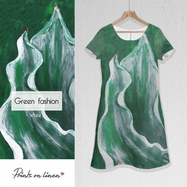Linen dress / Green fashion (white)