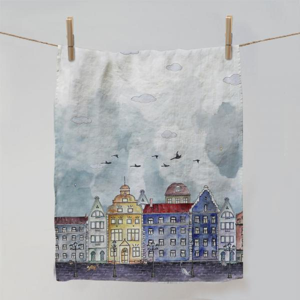 "Kitchen towel ""City and birds"""
