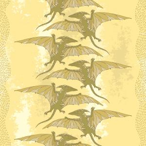 Seamless pattern with Pterodactyl or wing lizard on the textured beige background.