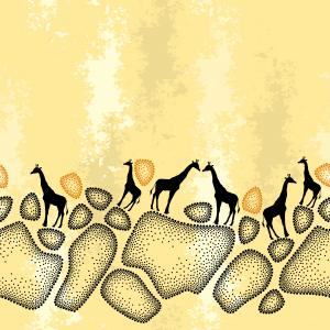 Seamless pattern with dotted giraffe skin in black and silhouettes of small giraffes on the beige textured background.