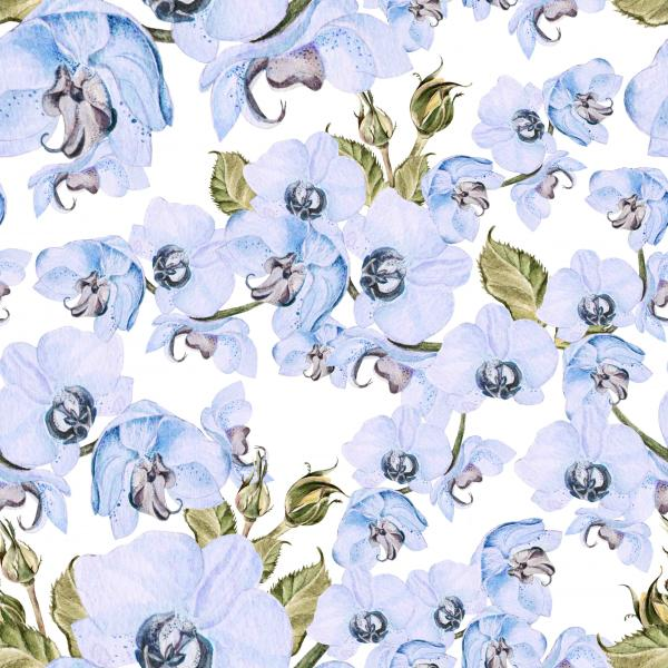 Seamless pattern with orchid flowers and leaves.