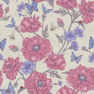 Summer Vintage Floral Pattern with Blooming Poppies Cornflowers Ladybird Bumblebee and Bee and Blue Butterflies
