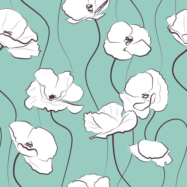 White poppies on mint background