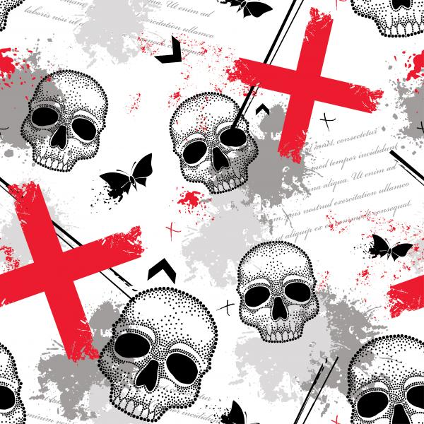 Vector seamless pattern with dotted skull, abstract lines, crosses, butterflies and blots in red and black on the white background.