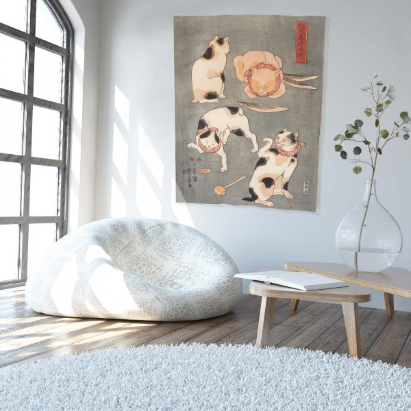 Wall tapestry / Four Cats in Different Poses