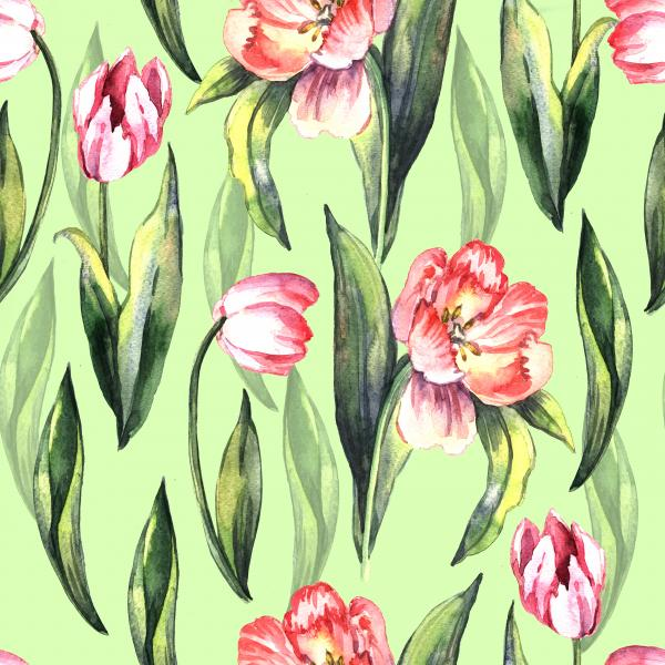 Delicate spring pattern with tulips