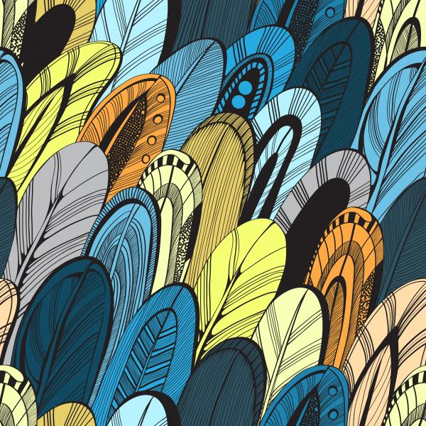 Abstract yellow and blue feathers