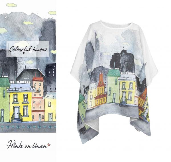 One size tunic / Colourful houses