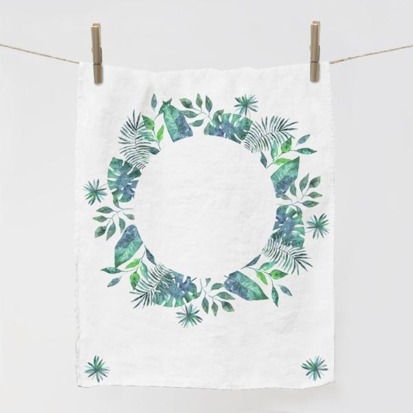 "Kitchen towel ""Hawaii leaves - blue"""