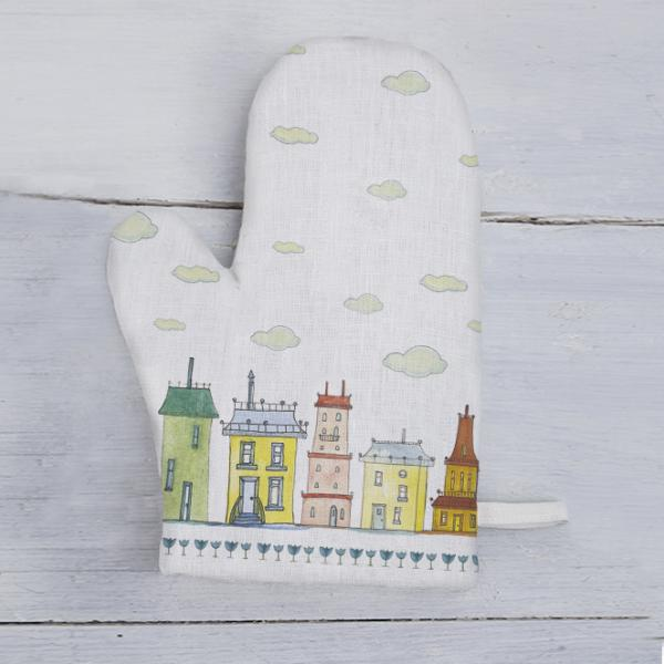"Kitchen glove ""Colourful houses"" white"