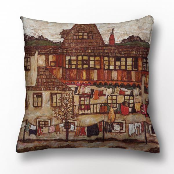 Cushion cover / House with Drying Laundry