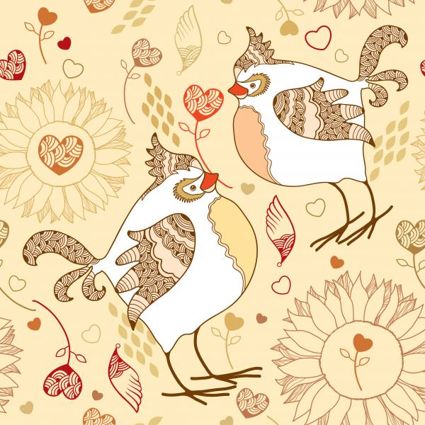 Elegance seamless pattern with birds in love on a beige background.