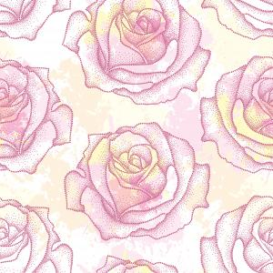 Pattern with dotted rose in pink on the white background with blots.