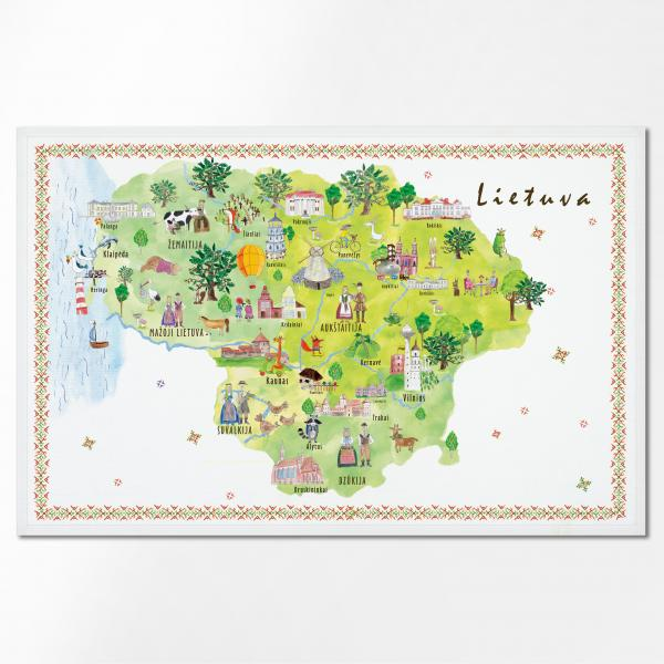 Linen towel with Lithuania map