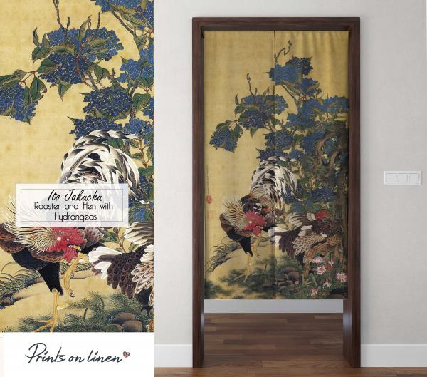 Noren / Rooster and Hen with Hydrangeas