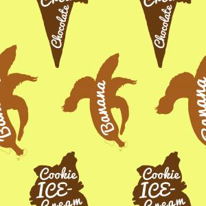 Banana and ice cream cone silhouette retro summer seamless pattern