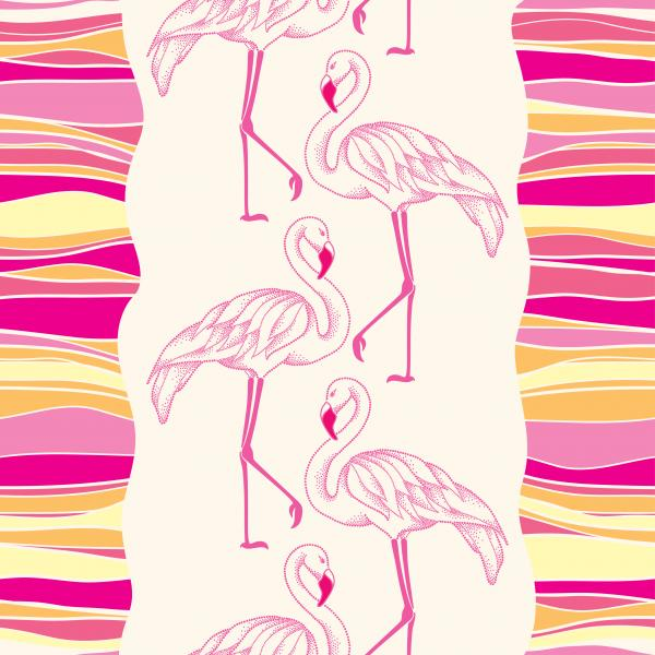 Seamless pattern with dotted pink flamingo and colorful stripes.