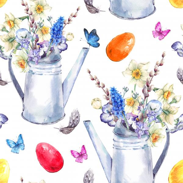 Watercolor vintage Happy Easter pattern with garden bouquet, white iron watering cane, easter eggs, chickens, flowers and butterflies