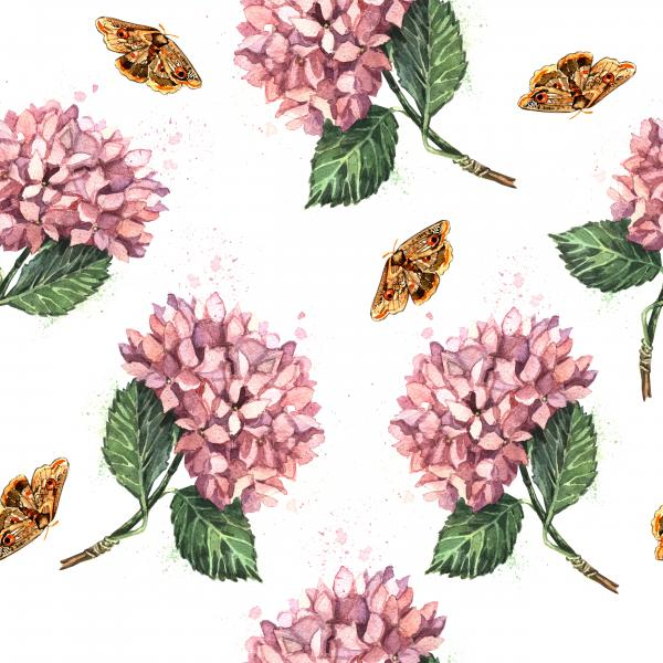 Watercolor pattern with pink hydrangeas and butterflies
