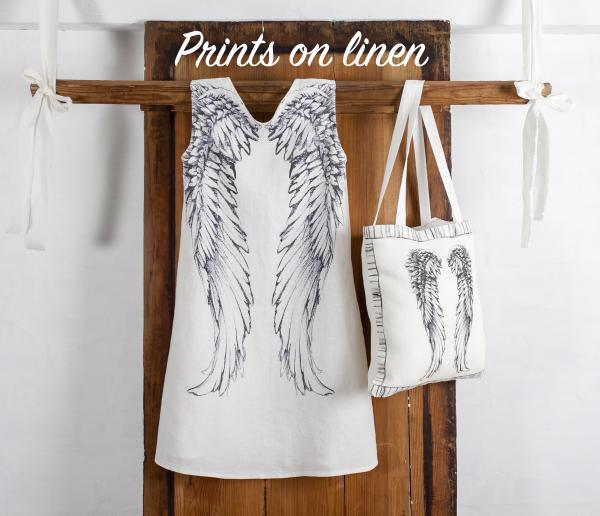Classic women's dress with wings pattern