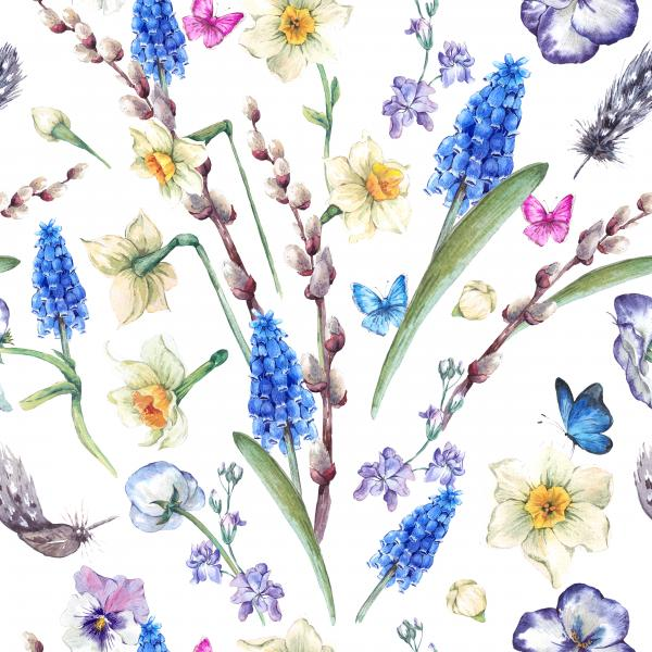 Spring vintage pattern, watercolor bouquet with daffodils, violets, pussy-willow, pansies, muscari and butterflies