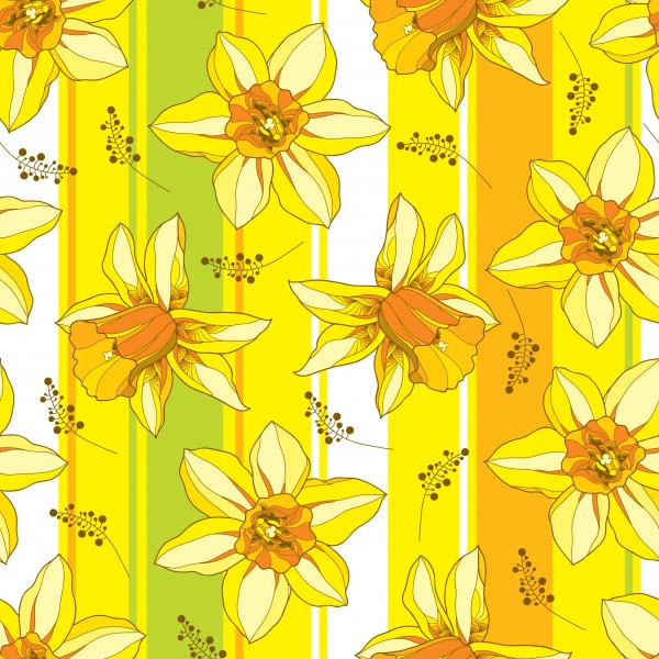 Seamless pattern with outline narcissus or daffodil flower in orange and yellow on the striped background.
