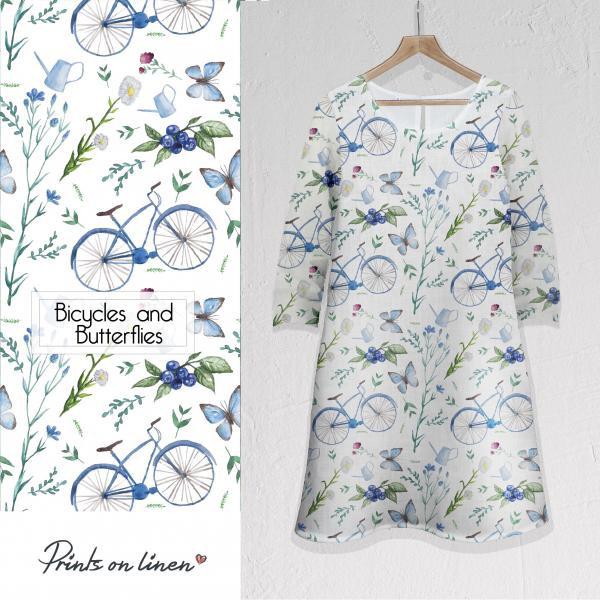 Linen dress / Bicycles and Butterflies