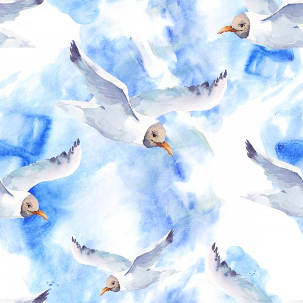 Summer watercolor pattern with seagull