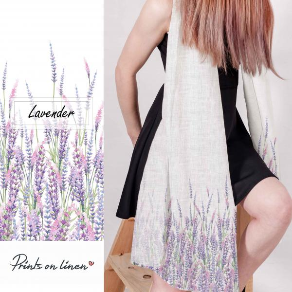 Linen scarf with lavender