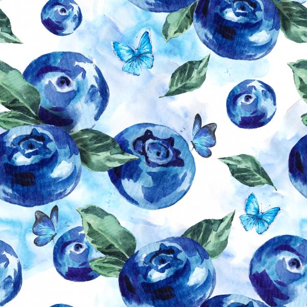 Watercolor blueberries pattern
