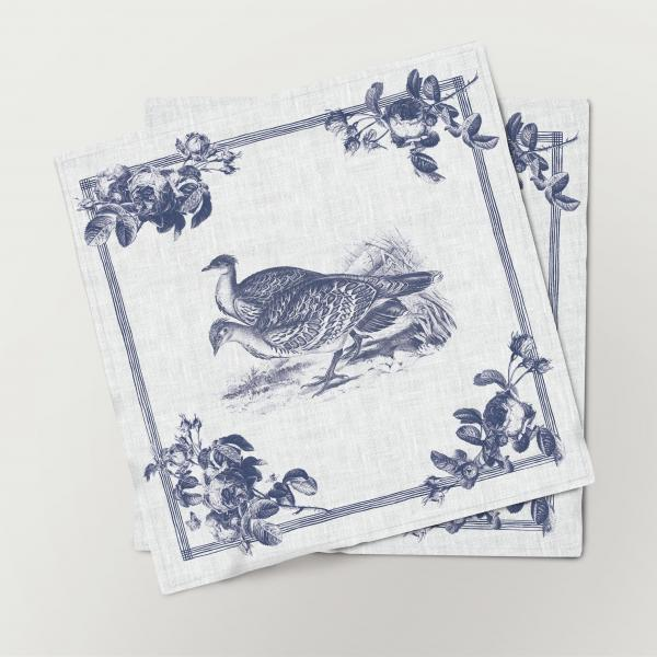 Napkins set /  Toile de Jouy Birds / Ocellated Leipoa