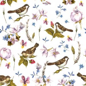 Floral Vintage Watercolor pattern with Sparrows