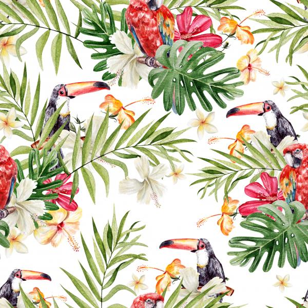 Bright colorful watercolor pattern with leaves of palms and monsters. Hibiscus flowers, plumeria and orchid. Bird toucan.