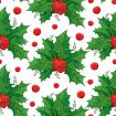 Seamless pattern with green leaves and red berries of Ilex or European Holly on the white background.