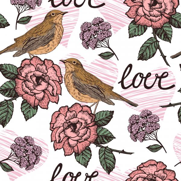Vintage romantic seamless with birds and flowers