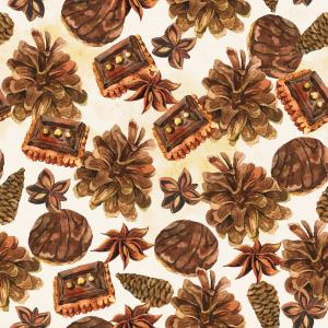 Watercolor pattern with pinecones, cookies and cinnamon