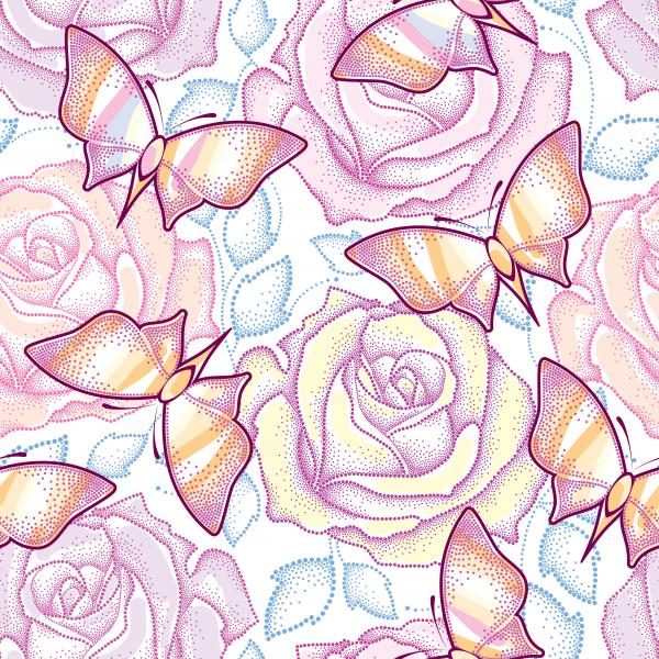 Seamless pattern with dotted roses, blue leaves and butterflies in pastel color on the white background.