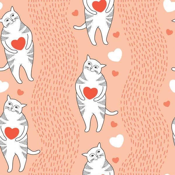 Seamless pattern with Funny cats, stripes and orange hearts.