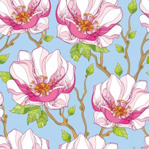 Seamless pattern with ornate magnolia flower in pink and green leaves on the blue background.