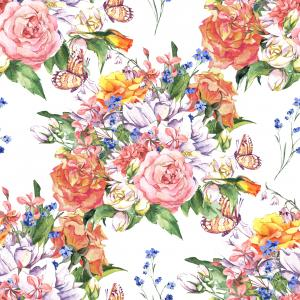 Spring Floral pattern with Jasmine, Roses, Butterfly and Wildflowers