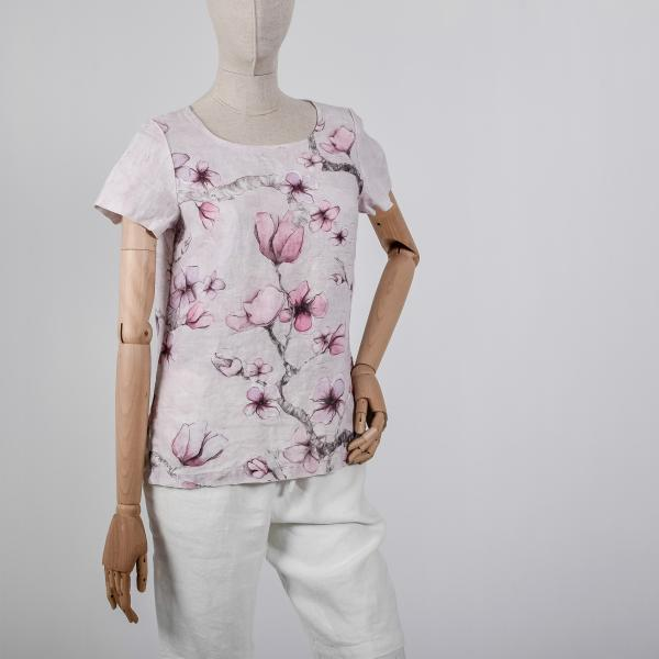 Linen shirt / Midnight Flowers (pink)