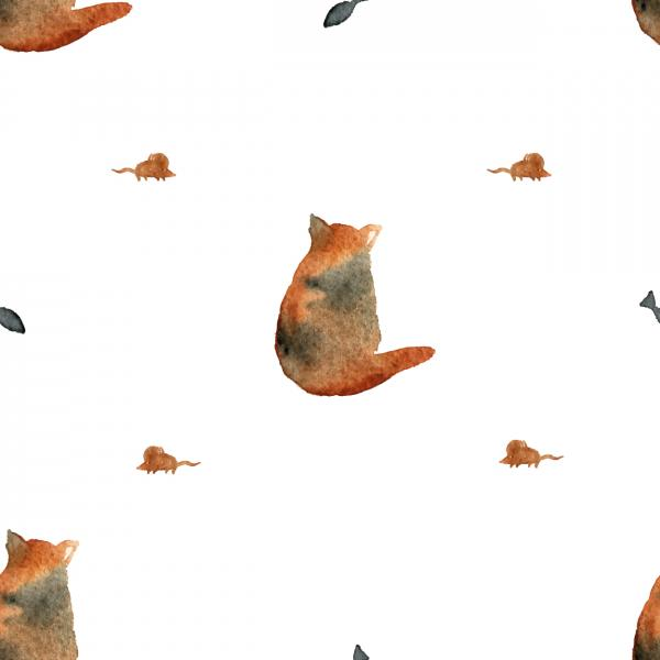 Watercolor cat pattern