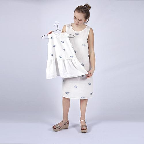 Linen dress with paper planes and ships