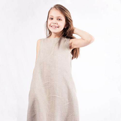Natural linen girl's dress
