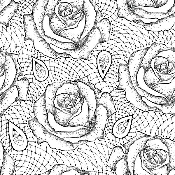 Elegance floral background with roses in dotwork and contour style.