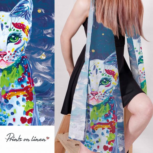 Linen scarf / The story of cat