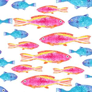 Pink and Blue Tropical Fish Pattern