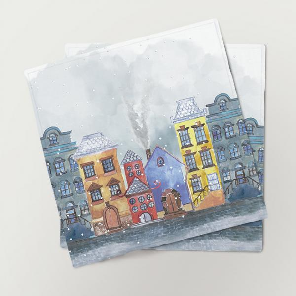 "Napkins ""Winter city"" (6 unit set)"